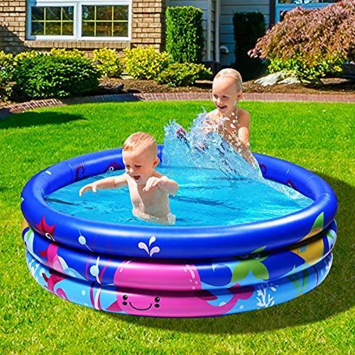 Joyjoz Family pool, Children's Pool for swimming, playing sleeping, Children's above-ground pool, paddling pool, inflatable bathtub, 3-ring embossing (120 cm, blue) (Multi)
