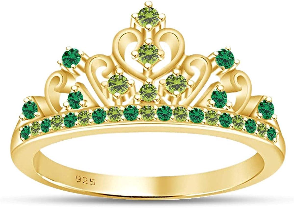 AFFY Round Cut 新作 ショップ 大人気 Simulated Multi W Style Stone Princess Engagement