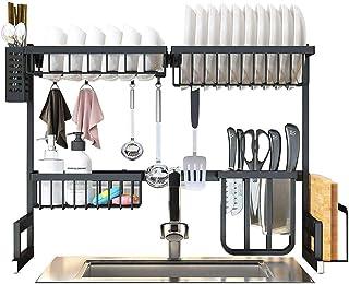حامل لتجفيف الأطباق من الستانلس ستيل المقاوم للصدأ من ليكسادا مع لوح صرف وحامل لأدوات المطبخ, 65cm