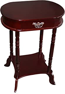 Home Source Industries Oval Accent Table with Faux-Drawer and Lower Shelf, Mahogany