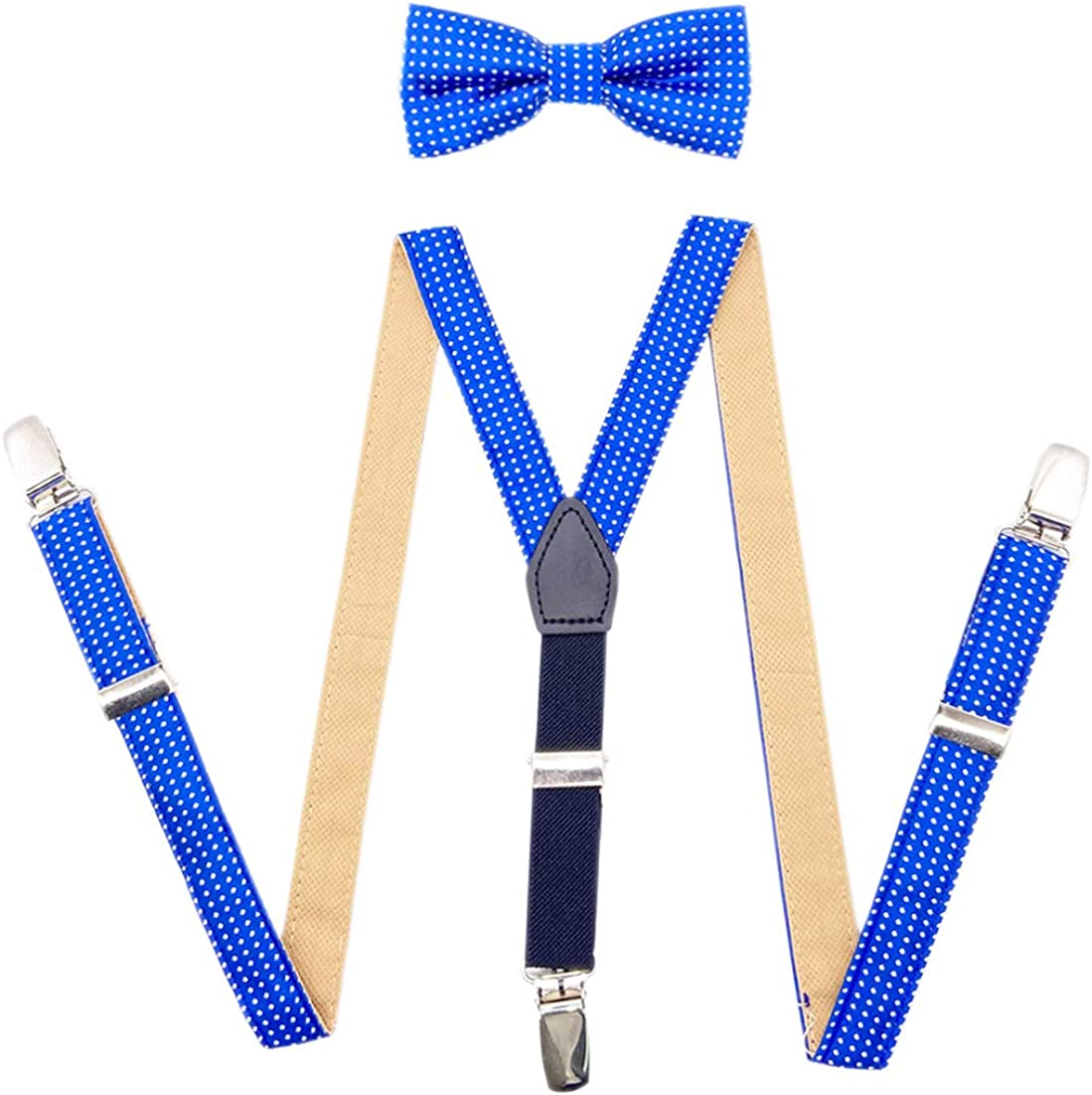 AYOSUSH Suspenders with Bowties Set for Boys Kids Y Shape Elastic 3 Clips Braces
