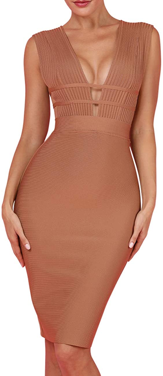 whoinshop Women 'S Sexy Deep V Plunge Sleeveless Cut Out Bodycon Bandage Cocktial Party Dresses