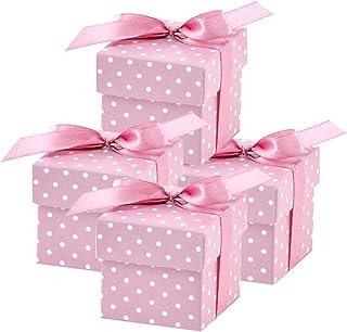 Pixnor 100pcs Scatole di Matrimonio caramelle caramelle cofanetti regalo favore/ Bianco Crema /Coppia design