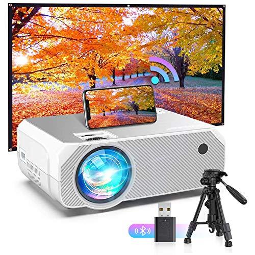 Proyector BOMAKER Resolución Nativa 1280*720p 4000 Lúmenes, Soporte Full HD 1080p, Mini Portátil Proyector GC555 con Estuche Portátil, Pantalla de 250 Pulgadas HDMI/ VGA/ AV/ USB/ SD