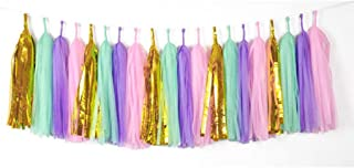 20 PCS Tissue Paper Tassels, Tassel Garland Banner for Wedding, Baby Shower and Party Decorations, DIY Kits (Metallic Gold,Light Purple,Pink,Green)