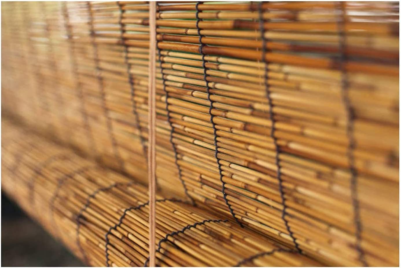 Zhaomi Bamboo Blind 在庫一掃 Carbonization Reed Roller Curtain Rom Blinds 激安セール