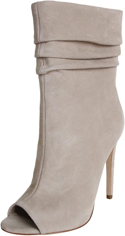 Halston Heritage Womens Sandra Pleated Open Toe Mid-Calf Boots