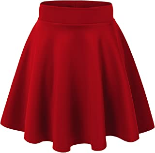 Women's Basic Versatile Stretchy Flared Casual Mini Skater Skirt XS-3XL Plus Size-Made in USA