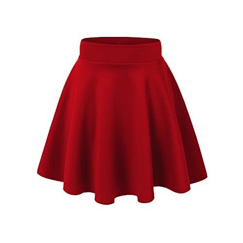 7f5c382af972 Made By Johnny Women's Basic Versatile Stretchy Flared Casual Mini Skater  Skirt XS-XXL Plus