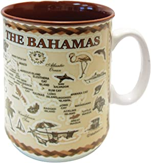 Mug Bahamas Souvenir Antique Brown Map Embossed Ceramic Coffee Mug Tea Cup 11 oz MAKES A GREAT SOUVENIR OR GIFT