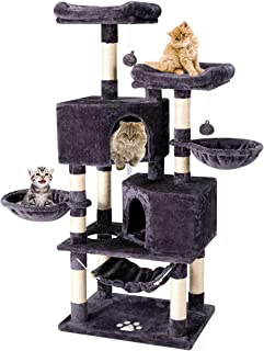 Mellcom Multi-Level Cat Tree Tower Condo with Cat Scratching Post Cozy Hammock Basket Hideaway House and Platforms,Kitty Activity Center Kitten Play House,Large Cat Tower Furniture