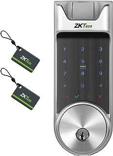 ZKTeco Bluetooth Enabled Keyless Keypad Deadbolt Door Lock Digital Electronic Biometric Smart Locks+5 pcs Mifare Cards.