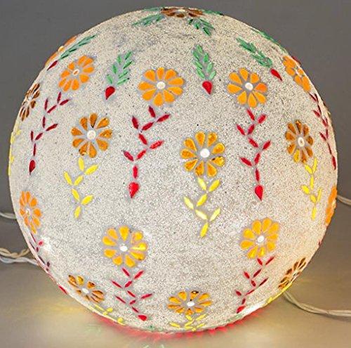 Exklusive Mosaikglas Kugellampe inkl. LED Lichterkette Multicolor Blume 25 cm formano deko