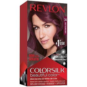Amazon Com Revlon Colorsilk Beautiful Color Permanent Hair Dye With Keratin 100 Gray Coverage Ammonia Free 34 Deep Burgundy Chemical Hair Dyes Beauty