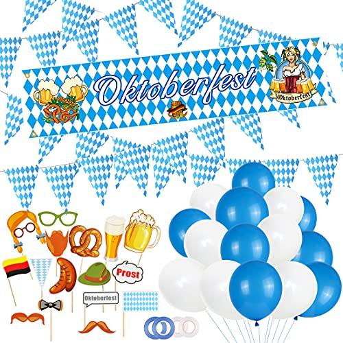 Oktoberfest Deko, 73 Oktoberfest Bayrisch Wiesn Party Deko Dekoration, Oktoberfest Banner and 50 Luftballons, Deko Oktoberfest Party, Oktoberfest Deko Set, Wimpel Girlande Bayern Flagge