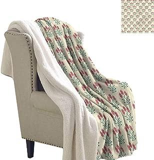 Alexandear Rustic Cozy Flannel Blanket Green Leaves Wildflowers 60x32 Inch