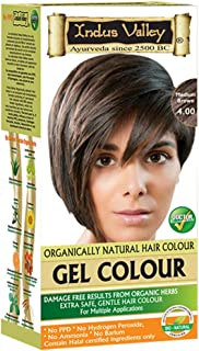 Indus Valley Gel Hair Color With 0% PPD, Ammonia, Hydrogen Peroxide, Barium With Refreshing Orange Aroma & 9 Herbs Ingredients Gives Damage Free Dark Shiny Color In Just 30 Minutes (Upto 4 Applications Medium Brown 4.0)