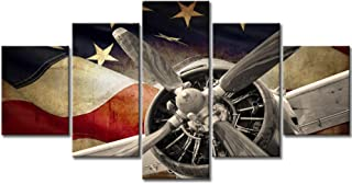 Vintage American US USA Flag Fighter Bomber Head Propelle Canvas Wall Art Prints Retro Warplanes Home Decor Pictures 5 Panel Poster Military Aircraft Painting Framed Ready to Hang (60