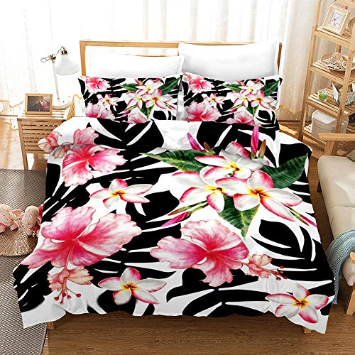 AHKGGM Duvet cover set Single Black plant leaves and pink flowers Bedding 3 pcs Microfiber duvet cover 55x79 inch with zipper closure And 2 pillowcases 20x30 inch -for adults and children's bedrooms