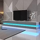 Aviator Double - TV Lowboard/TV Schrank/Hängeboard (280 cm Weiß Matt mit Hochglanzfronten in Grau, mit LEDs)