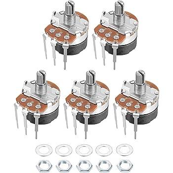 WH138 100K Ohm Variable Resistors Single Rotary Carbon Film Potentiometer 2pcs
