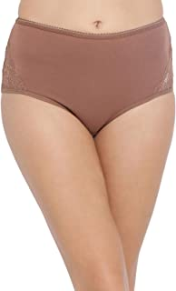 Clovia Women's Cotton High Waist Hipster Panty with Lace Inserts