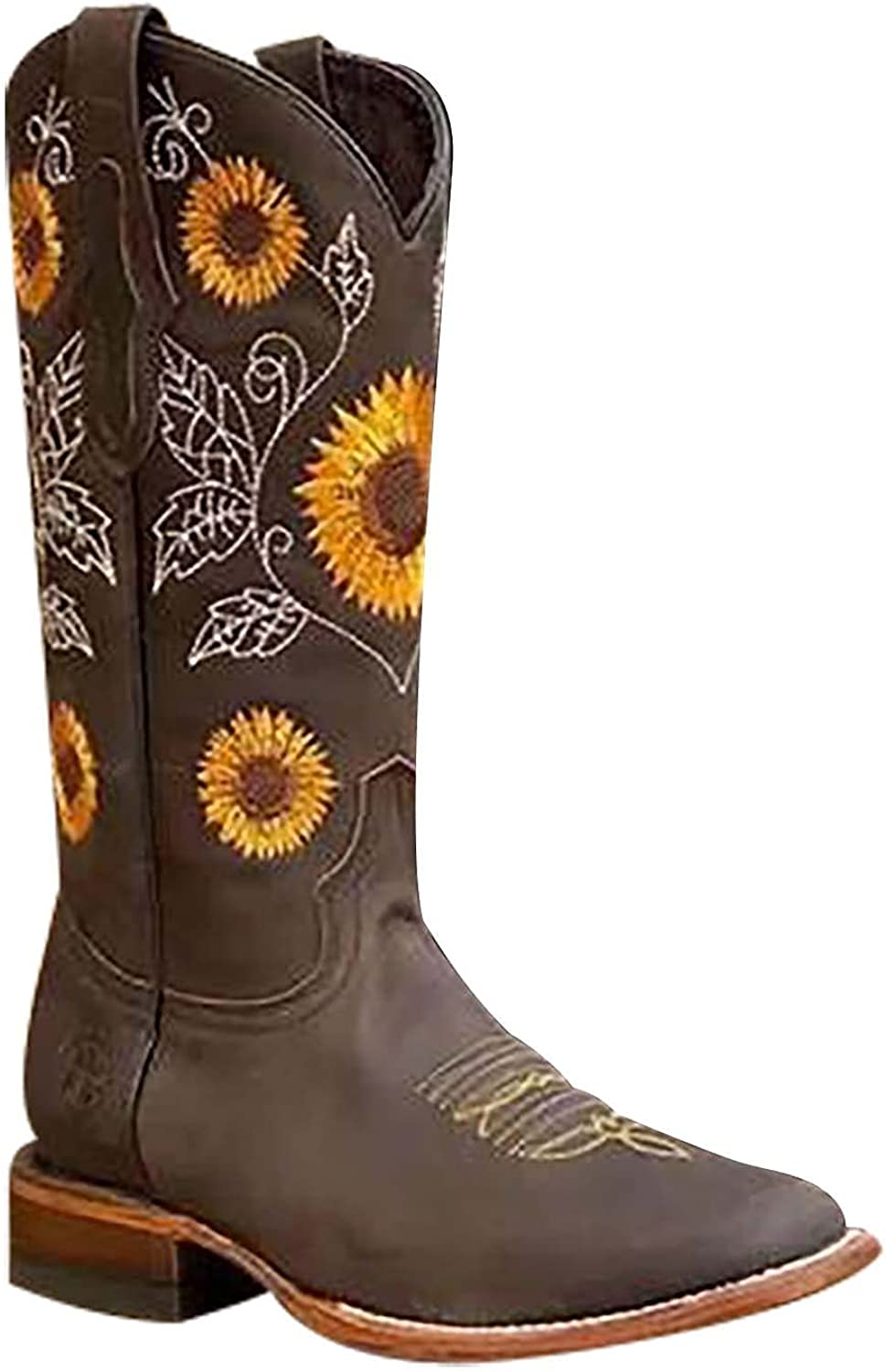 Cowboy Boots Women Western Boots Cowgirl Boots Embroidery Mid-calf Boots Ladies Pointy Toe Fashion Boots