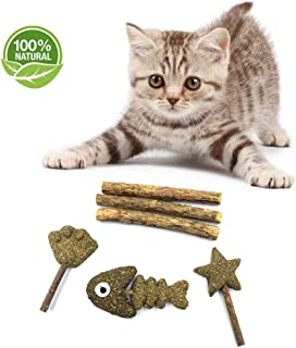 WoLover Catnip Toy for Cats – Natural Cat Catnip Silvervine Sticks, Cleaning Teeth Molar Tools Kitten Cat Chew Toy – Silvervine Sticks 3PCS and Catnip Compression Toy 3PCS