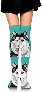 18 Almohada para perros husky con líneas de corte Chica sobre los calcetines hasta la rodilla Muslo Medias altas 65 cm / 25.6In