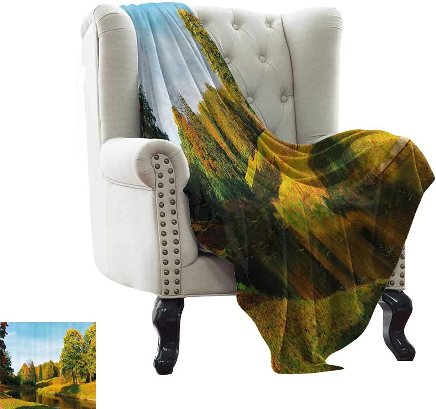 RenteriaDecor Landscape,Bed Sheet Scenery View Natural Forest Park with Trees and River Photo Image 70 x50  Super Soft Boys Warm Blanket Marigold and Olive Green