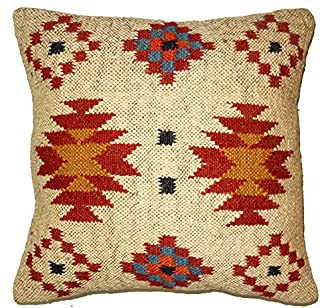 Indian Handwoven Kilim Turkish Home Décor Pillow Cases, Handwoven Kilim Pillow Throw,Outdoor Living Room Ethnic Cushion Cover Handwoven Jute Cushion Cover Jute Pillow Sham,Handwoven Kilim Cushion