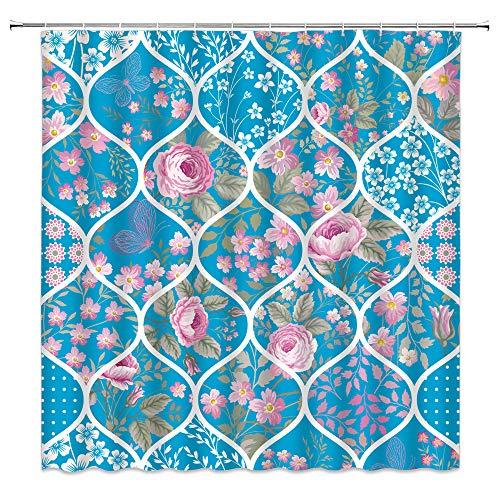 Tingrun Vintage Flower Duschvorhang blau geometrisch Quatrefoil Patchwork rosa Blütenblatt Frühling Blumen Retro Bild Stoff Badezimmer Vorhang Set 180,9 x 182,9 cm mit Haken, Blaugrün Pink