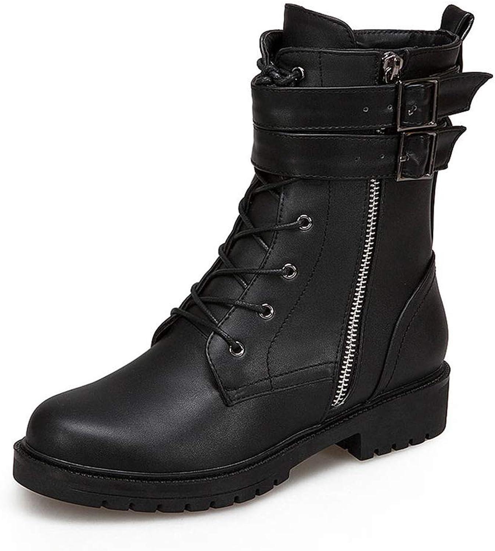 Web Perkin kvinnor Belt Buckle Zipper Lace Up Mode Mode Mode Martin kort Shores Winter kvinnor Plush Boot Lady Ankle stövlar  billigaste priset