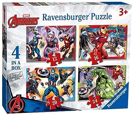 Ravensburger Marvel Avengers – Caja de 4 Pulgadas (12, 16, 20, 24 Piezas) Rompecabezas para niños a Partir de 3 años, 0 (6942)