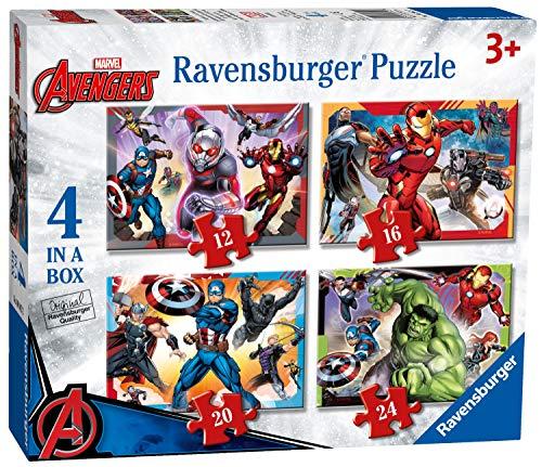 Ravensburger Puzzle, Marvel Avengers, 4 Puzzle in a Box, 12-16-20-24 Pezzi, Puzzle per Bambini, Puzzle Marvel, Età Consigliata 3+ Anni