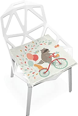 DOENR Bicycle Raccoon Seat Cushion Chair Cushions Covers Set Decorative Indoor Outdoor Velvet Double Printing Design Soft Seat Cushion 16 x 16