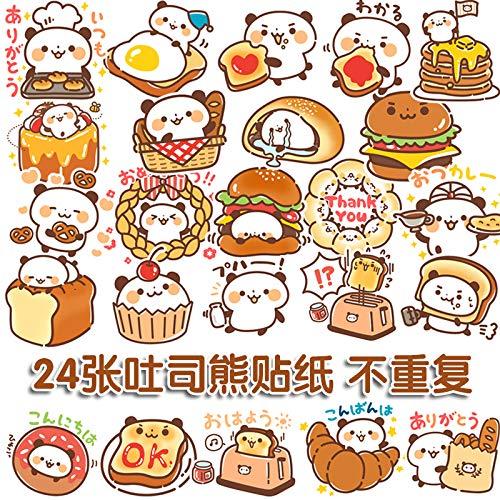 BLOUR Netter Bär Koffer Aufkleber Japanischer Cartoon Essen Panda Brot Bär Aufkleber Computer Koffer Autodekoration