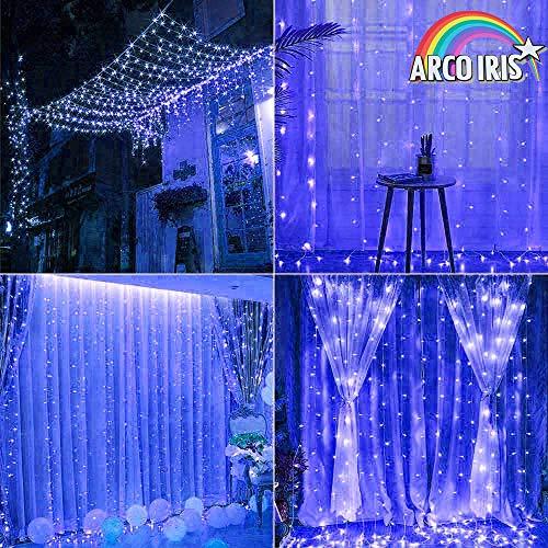 Arcoiris Cortina de Luces LED, IP44 700LED Azul Exterior, Guirnalda de Luces de Cadena, 8 Modos de Luz, decoración de Navidad, fiestas, bodas, jardín (Azul, 700LED)
