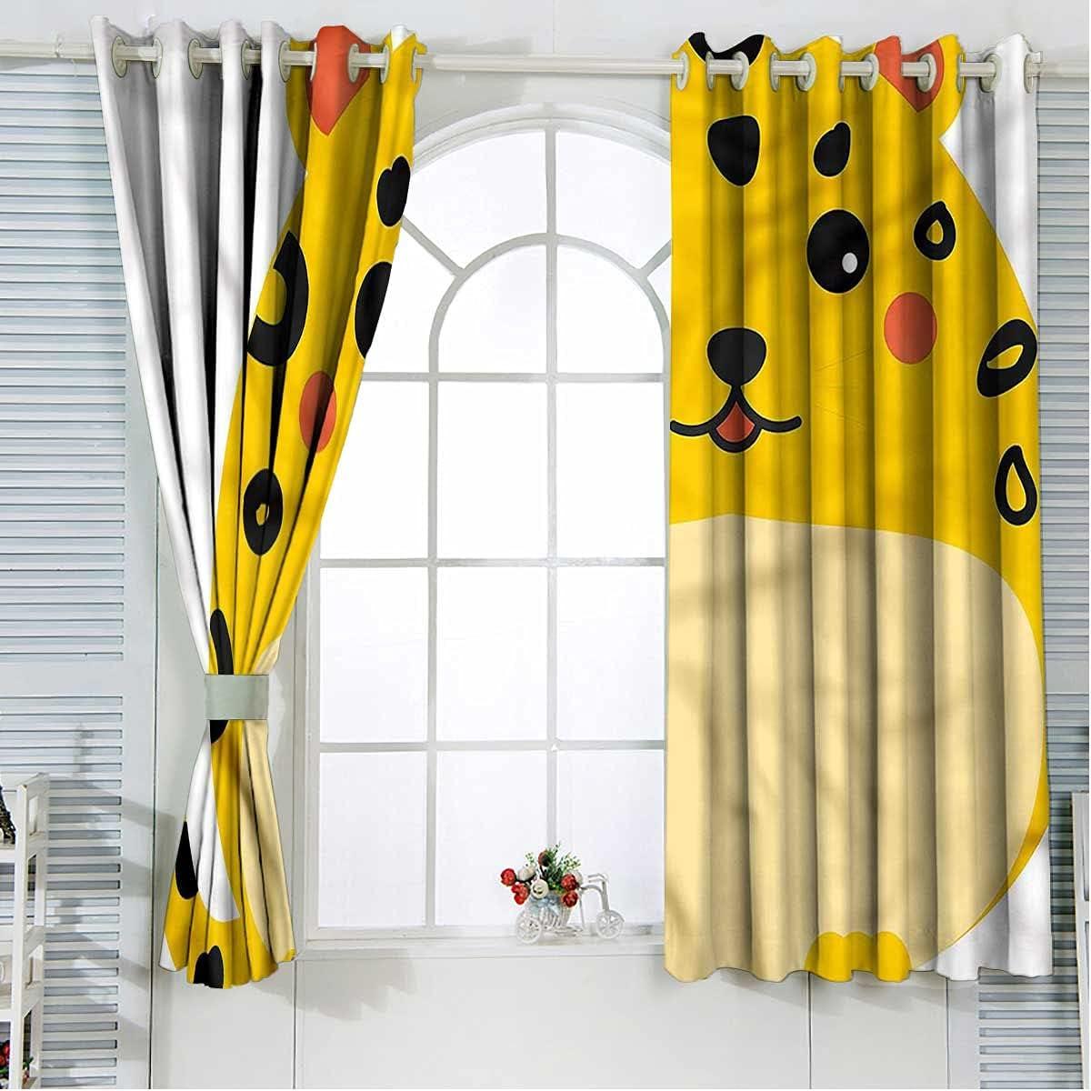 Kawaii 100% Blackout List price Curtains Super-cheap 63 Chubby Inch Leopard Cute Length