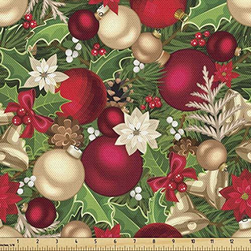 Ambesonne Christmas Fabric by The Yard, Tree Branches Spruce Leaves Balls Bells Cones Poinsettia Flowers Mistletoe Berry, Decorative Fabric for Upholstery and Home Accents, 3 Yards, Ruby Green