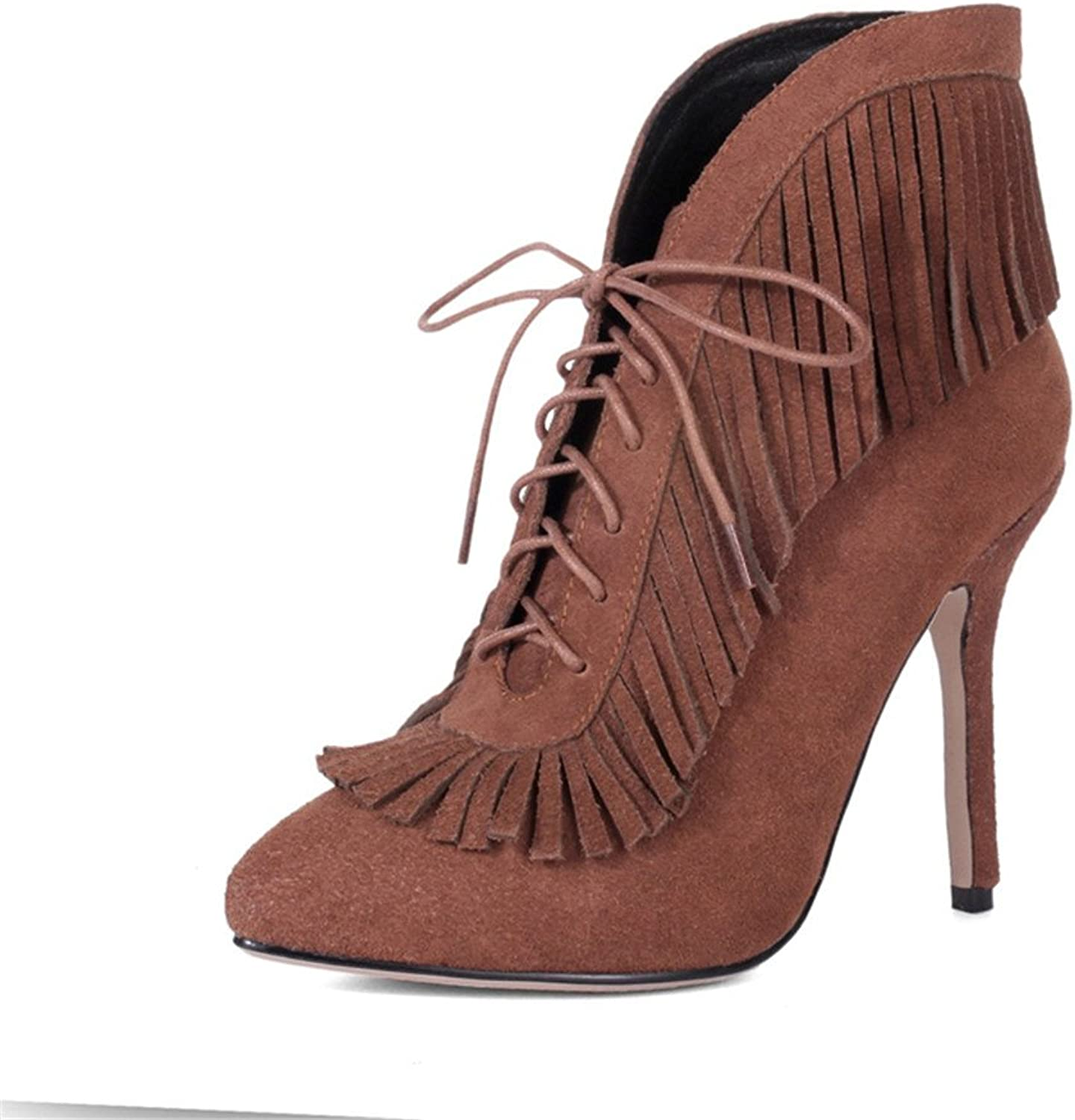 Nine Seven Suede Womens Stiletto Heel Lace up Pointed Toe Fringe Ankle Booties