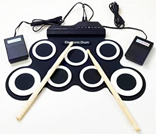 Portable Electronic Drum Foldable Roll up Drum Pad Kits Musical Entertainment Practice Instrument with 2 Foot Pedals and D...