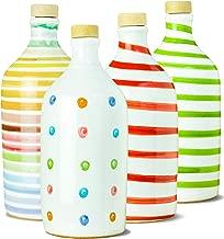 Antico Frantoio Muraglia | Italian First Cold Pressed Extra Virgin Olive Oil Gift Set | Handmade Ceramic Bottle | Gourmet EVOO Gift Set | Rainbow / Polka-Dot / Red / Green | Unique Food Gift