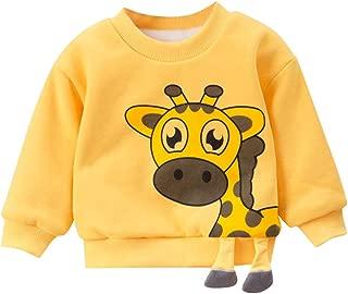 〓COOlCCI〓Boys'&Girls Long Sleeve Giraffe Print Pullover Tops Crew Neck Cartoon Casual Sweatshirt Tops Blouse Shirts Tees
