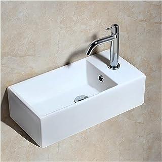 Bathroom sinks السيراميك سفينة الحمام بالوعة كونترتوب بالوعة مستطيل مرحاض الغرور بالوعة الحمام حوض البطن + صنبور مزيج 19....