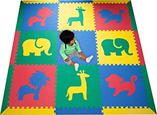 SoftTiles Interlocking Kids Foam Playmat w/Sloped Borders- Safari Animals Designs for Nursery and Playroom- Baby, Kids, and Toddlers - Primary Colors- Large 6.5 x 6.5 ft.- SCSAFSPRIM