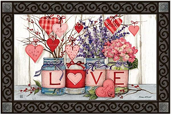 Studio M Filled With Love MatMates Decorative Floor Mat Recycled Rubber 18 X 30