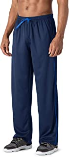 Men's Casual Jogger Athletic Pants Open Bottom Mesh Sweatpants with Pockets