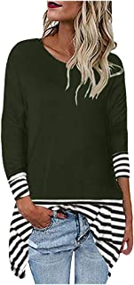 FEISI22 Womens Long Sleeve Tops Casual Elegant Stripped Shirts Strpied Patchwork Crew Neck Tunics