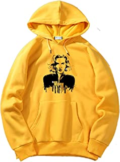 The SV Style Unisex Yellow Hoodie with Black Print: Black Widow/Printed Yellow Hoodie/Graphic Printed Hoodie/Hoodie for Men & Women/Warm Hoodie/Unisex Hoodie